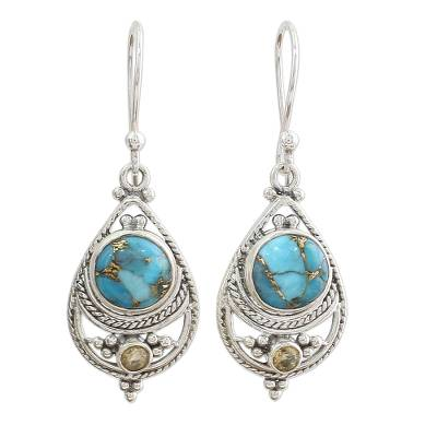 Citrine Composite Turquoise Dangle Earrings from India