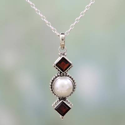 Garnet and cultured pearl pendant necklace, 'Red Guardians' - Garnet and Cultured Pearl Pendant Necklace from India