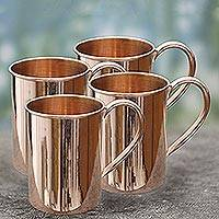 Copper mugs, 'Toast to Friendship' (set of 4) - Hand Made Copper Mugs with Handles (Set of 4) from India