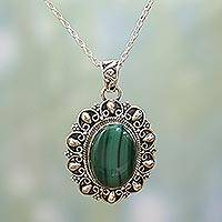 Malachite pendant necklace, 'Sophisticated in Green' - Malachite and Sterling Silver Pendant Necklace from India