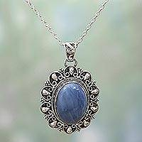 Opal pendant necklace, 'Sophisticated in Blue' - Blue Opal and Sterling Silver Pendant Necklace from India