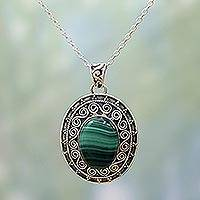 Malachite pendant necklace, 'Mystical Beauty' - Handcrafted Sterling Silver and Malachite Pendant Necklace
