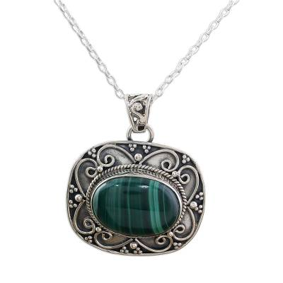 Sterling Silver Green Malachite Pendant and Chain