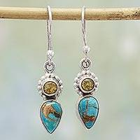 Citrine dangle earrings, 'Watery Allure' - Citrine and Composite Turquoise Dangle Earrings from India