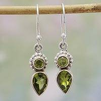 Peridot dangle earrings, 'Forest Sparkle' - Peridot and Sterling Silver Dangle Earrings from India