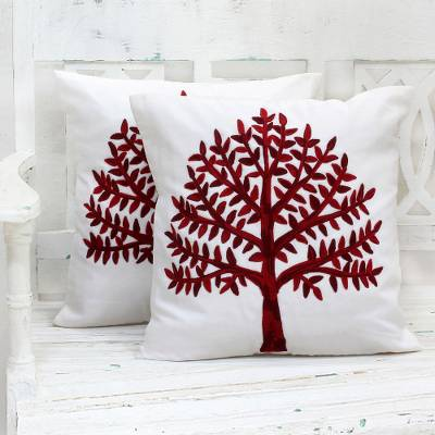 Cotton cushion covers, 'Chinar Tree' (pair) - Embroidered Cotton Cushion Covers Red Tree (Pair) India