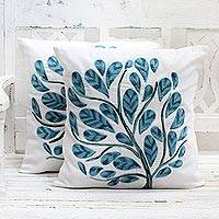 Cotton cushion covers, 'Tree of Life' (pair) - Cotton Cushion Covers with Acrylic Tree Embroidery (Pair)