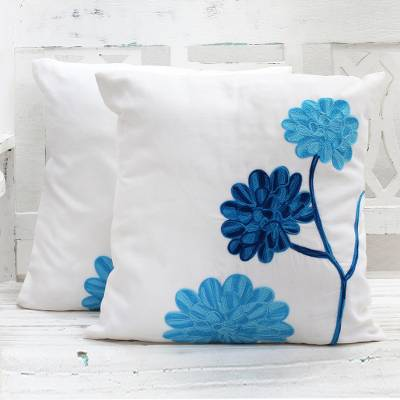 Cotton cushion covers, Dahlia Flowers (pair)