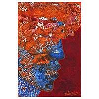 'Fragrance' - Expressionist Painting of a Face in Orange from India
