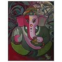 'Holy Ganesha' - Oil Expressionist Painting of Ganesha from India