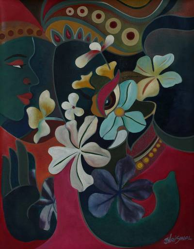 'Siddi Vinayak' - Floral Expressionist Painting of Faces from India