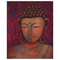 'Buddha - Peace Be on Earth' - Expressionist Painting of Buddha in Red from India