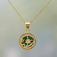 Gold plated pendant necklace, 'Leafy Circle in Green' - Gold Plated Thewa Glass Leafy Pendant Necklace from India