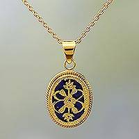 Gold plated pendant necklace, 'Blue Midnight Blossom' - Blue Glass Floral Pendant Necklace Thewa 23k Gold India