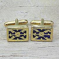 Gold plated cufflinks, 'Floral Blue Glory' - Blue Glass Floral Cufflinks Thewa 23k Gold from India