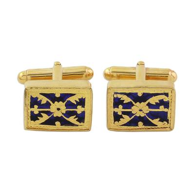 Blue Glass Floral Cufflinks Thewa 23k Gold from India