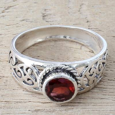 Garnet and Sterling Silver Single Stone Ring from India