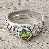 Peridot single stone ring, 'Blossoming Desire' - Peridot and Sterling Silver Indian Ring with Paisley Design