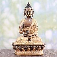 Brass sculpture, 'Shimmering Buddha' - Antiqued Brass Sculpture of Buddha from India
