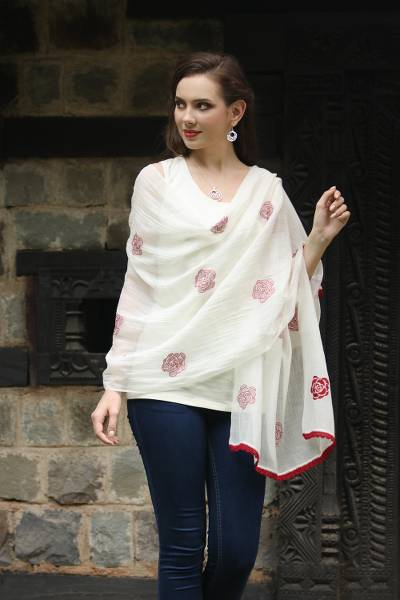 Cotton and silk blend shawl, 'Chikan Roses in Claret' - Cotton and Silk Shawl in Champagne and Claret from India