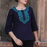 Cotton tunic, 'Indigo Magnificence' - Indigo Blue Cotton Tunic with Turquoise Floral Embroidery