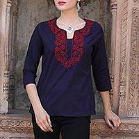 Cotton tunic, 'Indigo Grandeur' - Red Lotus Embroidery on Indigo Blue Cotton Tunic from India