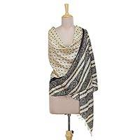 Silk shawl, 'Midnight Flock' - Hand Woven Striped Indian Silk Shawl in Ivory and Coal Black