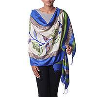 Silk shawl, 'Morning Orchids' - Hand Woven Floral Silk Shawl in Blue and Green from India