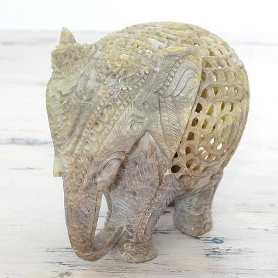 Soapstone statuette, 'Elephant Royalty' - Hand Carved Soapstone Elephant Statuette from India