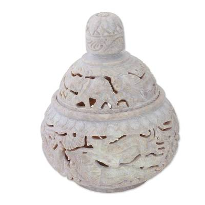 Handcrafted Soapstone Candy Jar from India