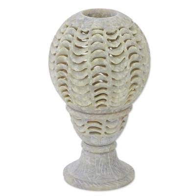 Soapstone tealight candle holder, 'Magical Globe' - Handcrafted Soapstone Candle Holder from India