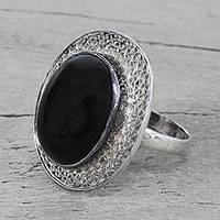 Onyx cocktail ring, 'Entrancing Magic' - Sterling Silver and Onyx Cocktail Ring from India