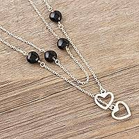 Onyx station necklace, 'True Romance' - Black Onyx and Sterling Silver Station Necklace with Hearts