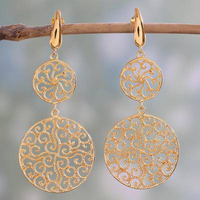 Gold plated sterling silver dangle earrings, 'Golden Waves' - 22k Gold Plated Sterling Silver Dangle Earrings from India