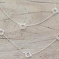 Sterling silver long station necklace,
