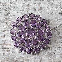 Amethyst pendant necklace, 'Lilac Burst' - Amethyst Sterling Silver Pendant Necklace from India