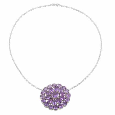 Amethyst Sterling Silver Pendant Necklace from India