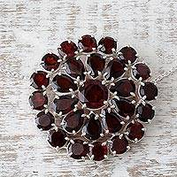Garnet pendant necklace, 'Crimson Burst' - Garnet and Sterling Silver Pendant Necklace from India