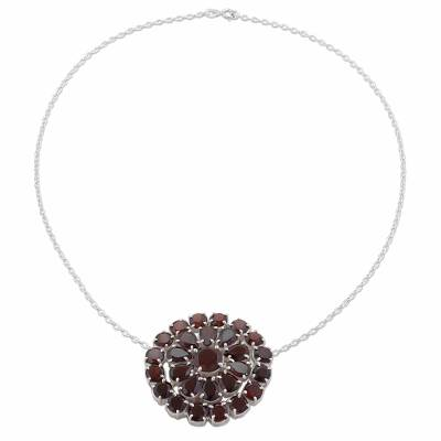 Garnet and Sterling Silver Pendant Necklace from India