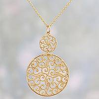 Gold plated pendant necklace, 'Golden Wave' - Gold Plated Sterling Silver Pendant Necklace from India