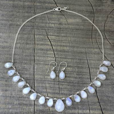 Rainbow moonstone jewelry set, 'Lovely Morning' - Rainbow Moonstone Jewelry Set Necklace and Earrings