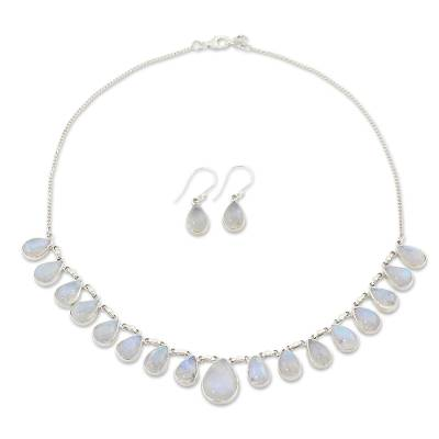 Rainbow Moonstone Jewelry Set Necklace and Earrings