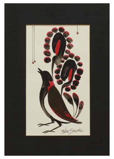 Original Signed Indian Tribal Style Bird Painting with Mat