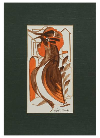India Tribal Art Style Original Painting of a Brown Bird