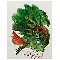 'United Beauty' - Bird of Paradise Series Green Dove Portrait from India