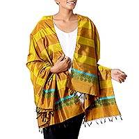 Silk shawl, 'Striped Shimmer in Honey' - Striped Silk Shawl in Honey and Caramel from India