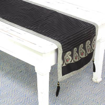 Silk table runner, 'Regal Holiday in Coal' - Jacquard Silk Table Runner in Coal and Pearl Grey from India