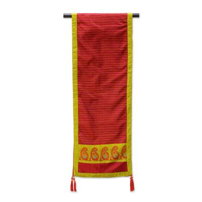 Silk table runner, 'Regal Holiday in Crimson' - Jacquard Silk Table Runner in Crimson and Honey from India