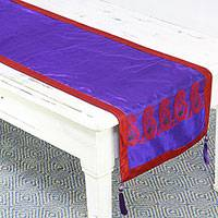 Silk table runner, 'Regal Holiday in Cobalt' - Silk Table Runner with Paisley Motifs in Cobalt and Crimson