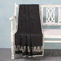 Silk throw, 'Paisley Allure in Black' - Hand Woven Silk Throw in Black and Pearl Grey from India